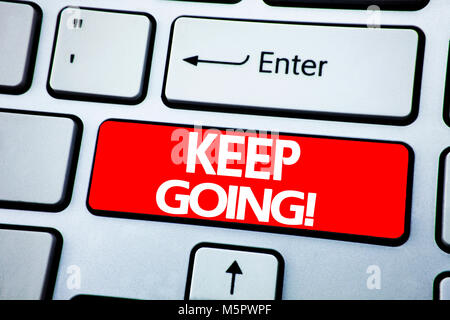 Handwriting Announcement text showing Keep Going. Business concept for Go Moving Forward Letting written on red - Stock Photo