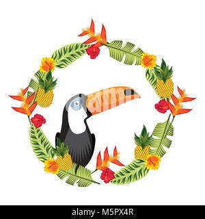exotic toucan in weather flowers tropical decoration - Stock Photo