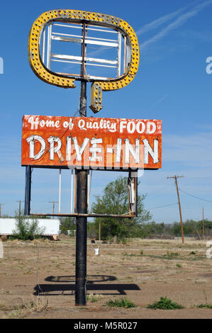 Sign for the former Westerner Drive-Inn restaurant in the Route 66 town of Tucumcari, New Mexico. - Stock Photo