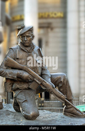 ABERDEEN, SCOTLAND - 12 FEBRUARY 2018: A detail from Mark Richards's statue commemorating the city's local regiment, the Gordon Highlanders, on the sit