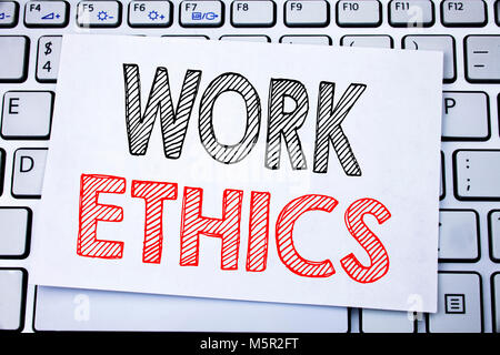 Handwritten text caption showing Work Ethics. Business concept writing for Moral Benefit Principles written on sticky - Stock Photo