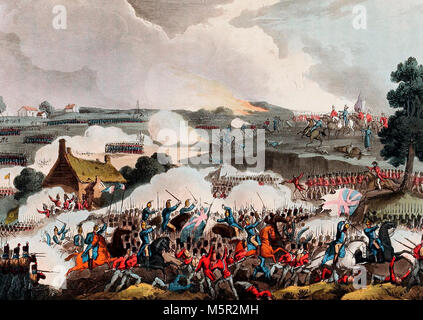 The Centre of the British Army in action at the Battle of Waterloo - June 18, 1815 - Stock Photo