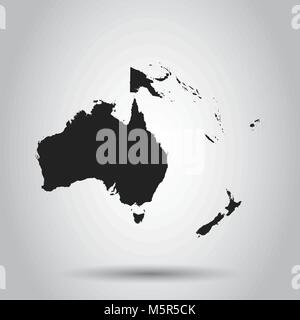 Australia and oceania map icon. Flat vector illustration. Australia sign symbol with shadow on white background. - Stock Photo