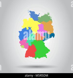 Germany map with federal states icon. Flat vector illustration. Germany sign symbol with shadow on white background. - Stock Photo