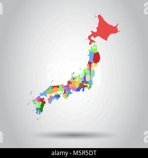 Japan map icon. Flat vector illustration. Japan sign symbol with shadow on white background. - Stock Photo