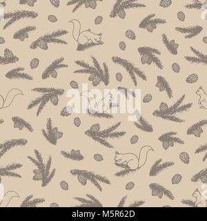 Vector seamless pattern with forest elements contours: squirrels, pine branches and cones on  the beige background. - Stock Photo
