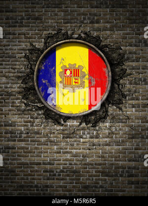 3d rendering of an Andorra flag over a rusty metallic plate embedded on an old brick wall - Stock Photo