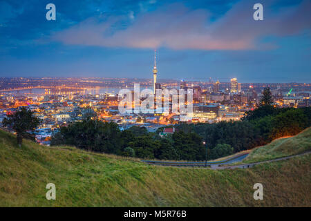 Auckland. Cityscape image of Auckland skyline, New Zealand taken from Mt. Eden at dawn. - Stock Photo