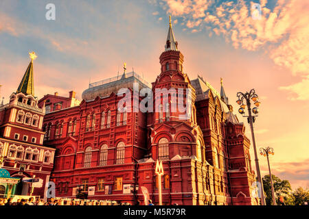 Moscow, Russian Federation - August 27, 2017 :  -  Kremlin , sunset at State Historical Museum - Stock Photo
