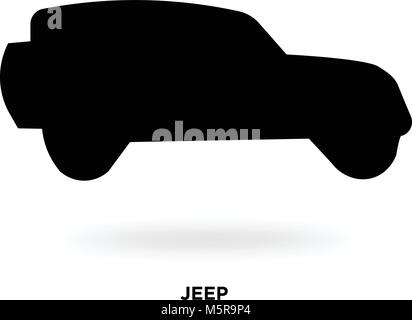 jeep silhouette - Stock Photo