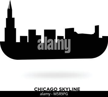 chicago skyline silhouette - Stock Photo