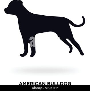 american bulldog silhouette - Stock Photo
