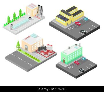 Set of different  isometric buildings. Isometric building with solar panel. Road, green bushes in front of house. - Stock Photo