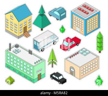 Set of stickers different  isometric buildings. Car, green bushes, tree. Vector illustration isometric style. - Stock Photo