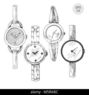 Set of wristwatches in retro style isolated on white background. Vector illustration in sketch style. - Stock Photo