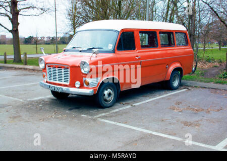 Colour Photograph of a Old Ford Transit Van, Parked in Tooting Bec Common, London, England, UK. Credit: London Snapper - Stock Photo