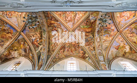 Lipari, Aeolian Islands, Italy - August 22, 2017: Frescoes with biblical scenes on the vault of the St Bartholomew - Stock Photo