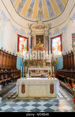 Lipari, Aeolian Islands, Italy - August 22, 2017: Richly decorated main altar of the St Bartholomew Cathedral in - Stock Photo