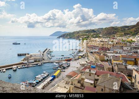 Aerial view of Marina Corta in Lipari town, Aeolian Islands, Italy - Stock Photo