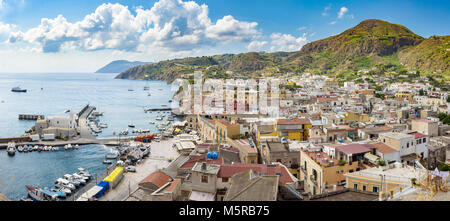 Panoramic view of Marina Corta in Lipari town, Aeolian Islands, Italy - Stock Photo