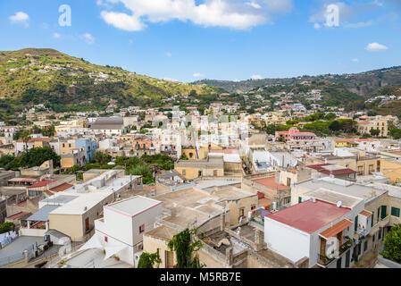 Aerial view of Lipari town, Aeolian Islands, Italy - Stock Photo