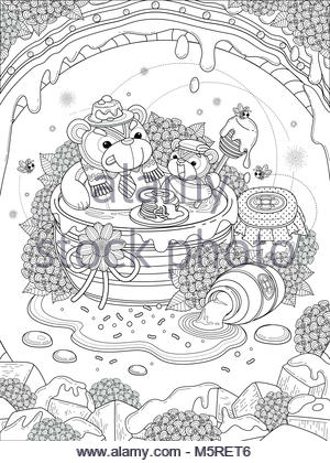 Lovely Adult Coloring Page Foodie Bear Family Enjoy Their Honey Meal Anti Stress