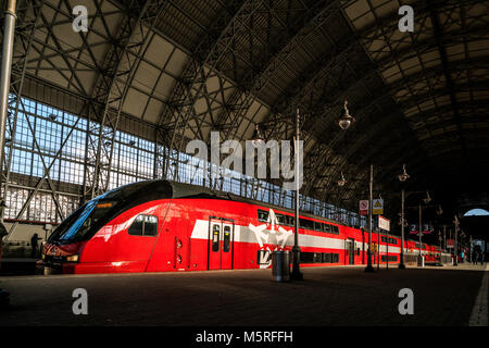 Double-deck Aeroexpress train providing comfortable connection between Kievskiy railway terminal and airport Vnukovo - Stock Photo