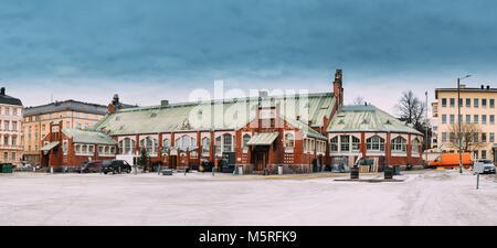 Helsinki, Finland. Panorama Of Hietalahti Market Hall Located In Old Market Hall Of Hietalahdentie In Helsinki And - Stock Photo