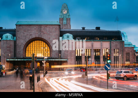 Helsinki, Finland - December 7, 2016: Night Traffic In Postgatan Street Near Helsinki Central Railway Station In - Stock Photo