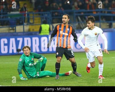 KHARKIV, UKRAINE - FEBRUARY 21, 2018: Cengiz Under of AS Roma (in white) scores a goal against Shakhtar Donetsk - Stock Photo