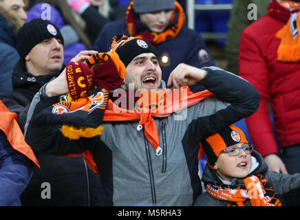 KHARKIV, UKRAINE - FEBRUARY 21, 2018: Shakhtar Donetsk supporters show their support during UEFA Champions League - Stock Photo