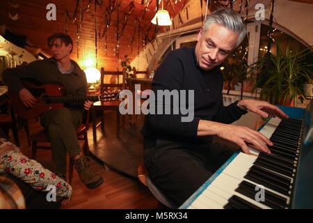 Kazan, Russia. 25th Feb, 2018. KAZAN, RUSSIA - FEBRUARY 25, 2018: US Ambassador to Russia Jon Huntsman plays a piano - Stock Photo