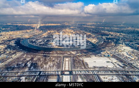 Moscow, Russia. 23rd Feb, 2018. MOSCOW, RUSSIA - FEBRUARY 23, 2018: An aerial view of Luzhniki Stadium (C), a venue - Stock Photo