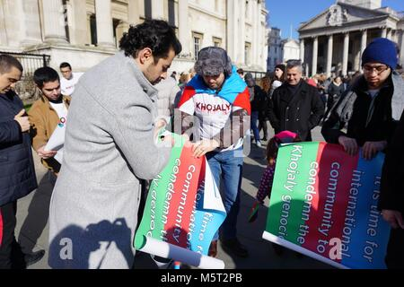 London, UK. 25th Feb, 2017. Protest and march to UK Parliament about the Armenian–Azerbaijani conflict and the Khojaly - Stock Photo