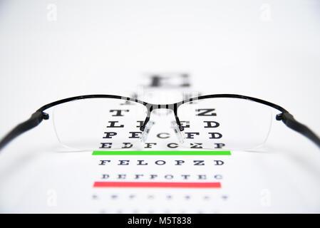 Eye glasses on eyesight test chart background close up. - Stock Photo