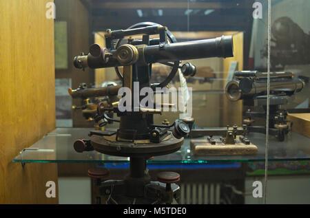 Old railway binoculars on display in Belgrade rail museum - Stock Photo