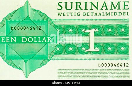 Suriname One 1 Dollar Bank Note - Stock Photo