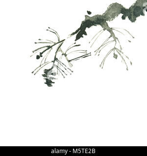 chinese black ink painting of pine branch isolated on white - Stock Photo