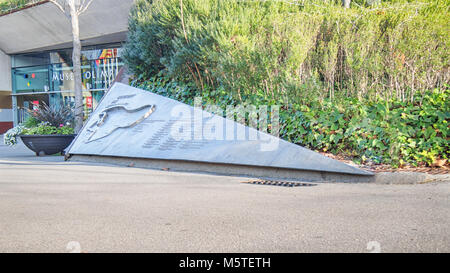 BARCELONA, SPAIN-FEBRUARY 18, 2018: Сommemorative plaque dedicated to Circuit de Montjuic outside the Olympic and - Stock Photo
