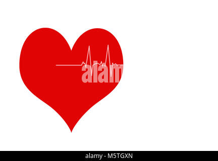 Heartbeat Icon Illustration, pink heart - Stock Photo