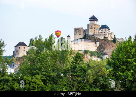 Trencin Castle. Slovakia. 02 AUGUST 2015. Trenciansky Hrad - Trencin Castle - on the hill in center of the city - Stock Photo