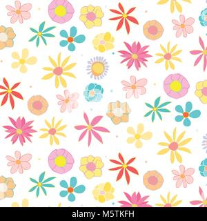 floral illustration in pastel colors - background - Stock Photo