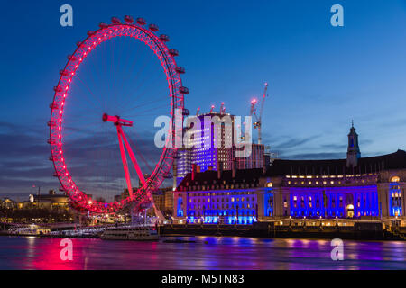 The London Eye and County Hall at dawn - Stock Photo