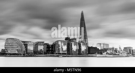London Skyline view of The Shard, City Hall, More London and HMS Belfast - London, England - Stock Photo