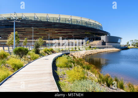 The boardwalk around the new Perth Optus Stadium on Burswood Peninsula on the Swan River, Perth, Western Australia, - Stock Photo