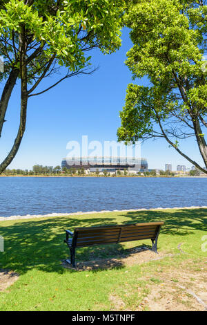 The new Perth Optus Stadium on Burswood Peninsula looking over the Swan River, Perth, Western Australia - Stock Photo