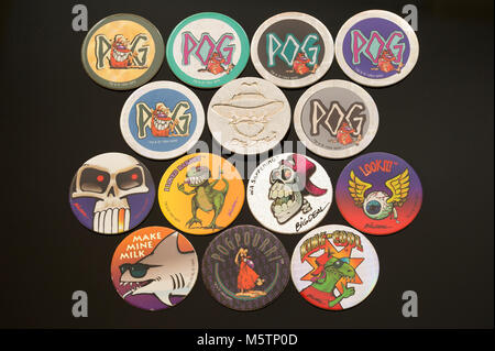 Pogs (Milk cap) collectibles which was a popular children's game in the 1990's - Stock Photo