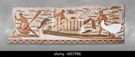 Roman mosaic depicting fishermen. The fisherman on the left is about to spear an octopus with a trident. The fisherman - Stock Photo