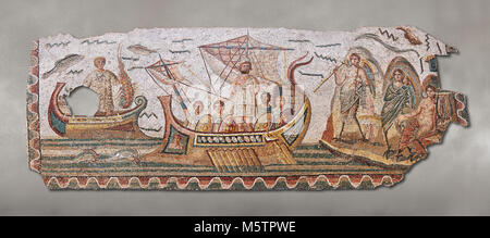 Roman mosaic depicting Ulysses resisting the songs of the Sirens on his way back from Troy. In Homers Odyssey it - Stock Photo