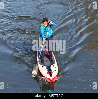 Stand up Paddle boarders on the River Thames in England - Stock Photo